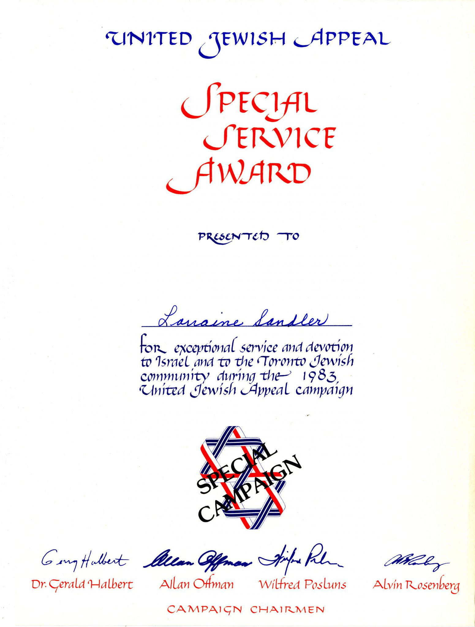 Special Service Award
