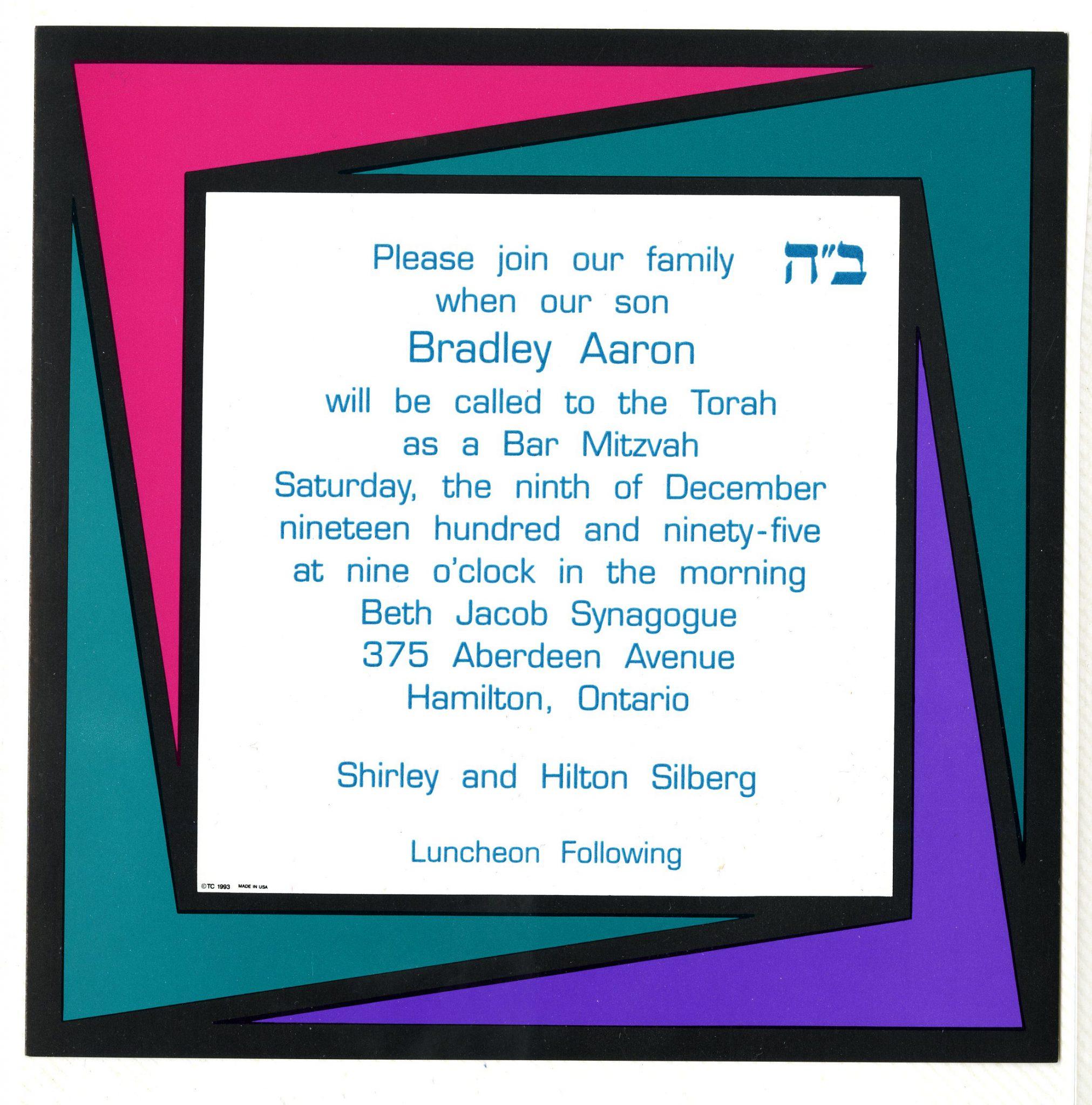 Invitation to Bradley's Bar mitzvah