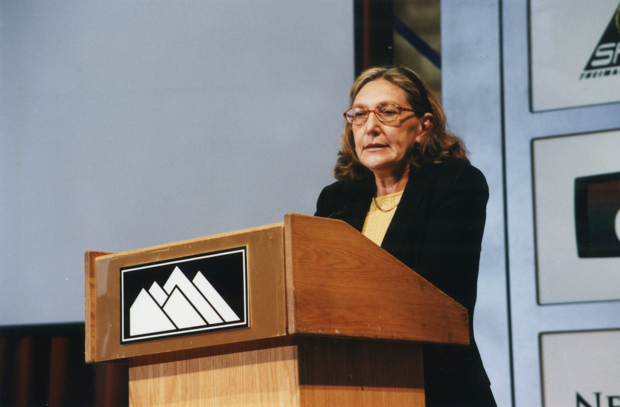 Speaking at a conference