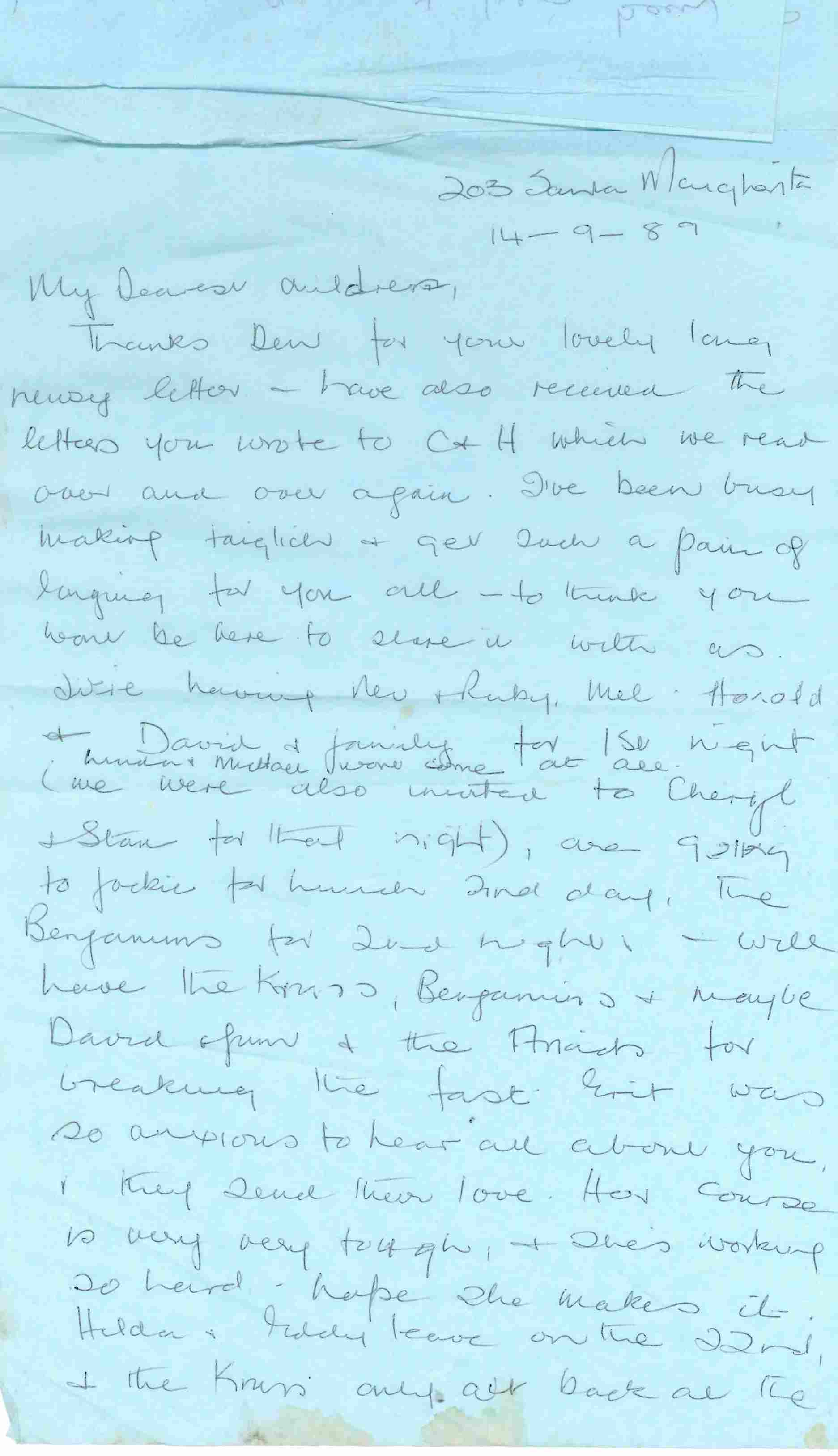 Letter written to Denise